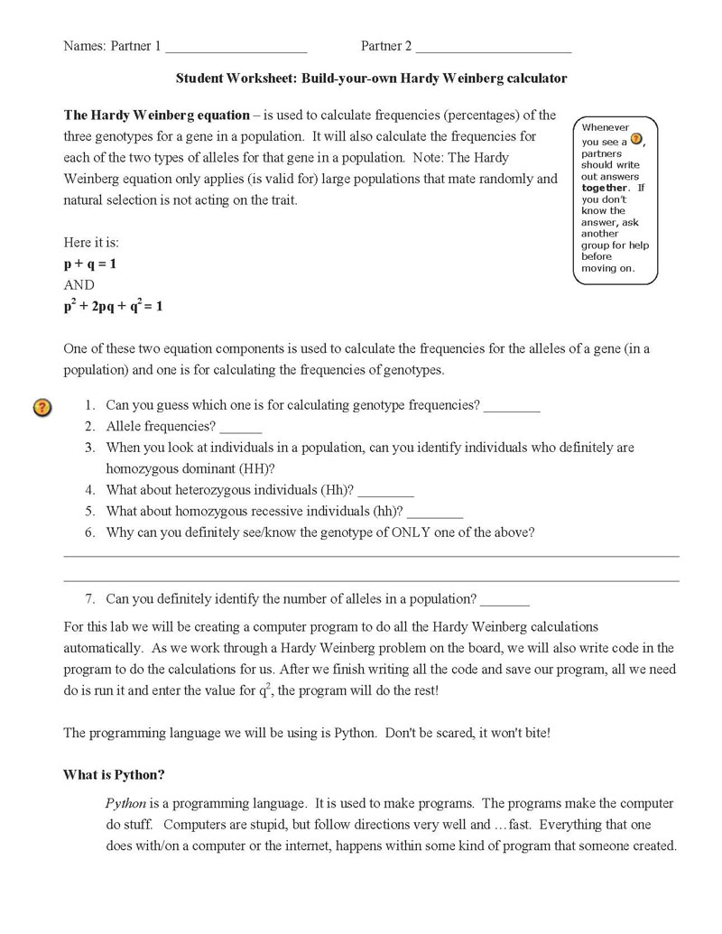 Worksheets Hardy Weinberg Worksheet build your own hardy weinberg calculator