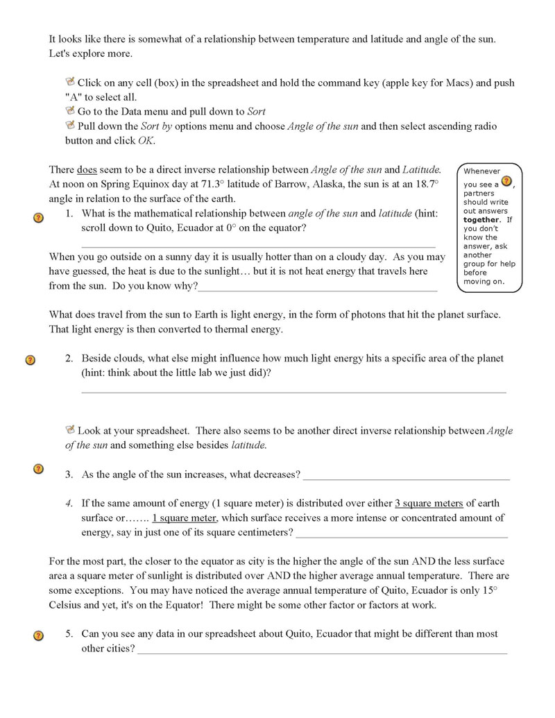 Printables Solar Energy Worksheet latitude angle of sun and solar energy sharethis
